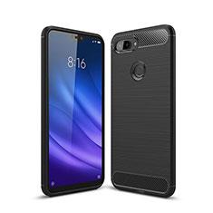 Xiaomi Mi 8 Lite用シリコンケース ソフトタッチラバー ライン カバー Xiaomi ブラック