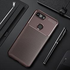 Xiaomi Mi 8 Lite用シリコンケース ソフトタッチラバー ツイル カバー Xiaomi ブラウン