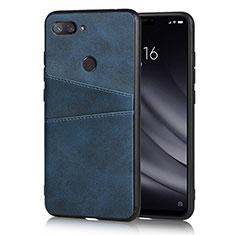 Xiaomi Mi 8 Lite用ケース 高級感 手触り良いレザー柄 Xiaomi ネイビー