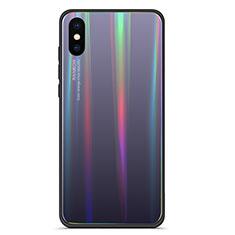 Xiaomi Mi 8 Pro Global Version用ハイブリットバンパーケース プラスチック 鏡面 虹 グラデーション 勾配色 カバー Xiaomi グレー