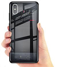 Xiaomi Mi 8 Screen Fingerprint Edition用シリコンケース ソフトタッチラバー 鏡面 Xiaomi ブラック