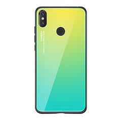 Xiaomi Mi 8 SE用ハイブリットバンパーケース プラスチック 鏡面 虹 グラデーション 勾配色 カバー Xiaomi グリーン