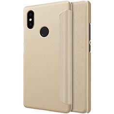 Xiaomi Mi 8 SE用手帳型 レザーケース スタンド Xiaomi ゴールド