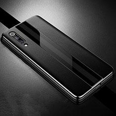 Xiaomi Mi 9用シリコンケース ソフトタッチラバー レザー柄 S01 Xiaomi ブラック