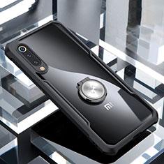 Xiaomi Mi 9 Lite用360度 フルカバーハイブリットバンパーケース クリア透明 プラスチック 鏡面 アンド指輪 マグネット式 Xiaomi ブラック