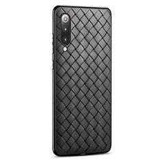 Xiaomi Mi 9 Lite用シリコンケース ソフトタッチラバー レザー柄 Xiaomi ブラック