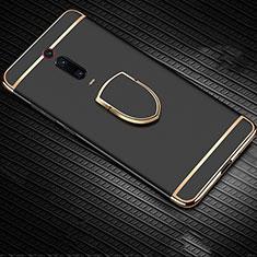 Xiaomi Mi 9T Pro用ケース 高級感 手触り良い メタル兼プラスチック バンパー アンド指輪 T01 Xiaomi ブラック