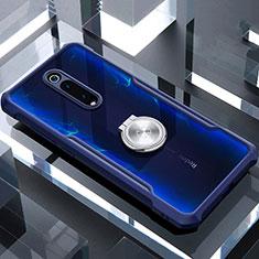 Xiaomi Mi 9T Pro用360度 フルカバーハイブリットバンパーケース クリア透明 プラスチック 鏡面 アンド指輪 マグネット式 T01 Xiaomi ネイビー