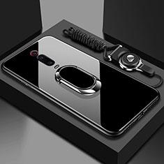 Xiaomi Mi 9T Pro用ハイブリットバンパーケース プラスチック 鏡面 カバー アンド指輪 マグネット式 T01 Xiaomi ブラック