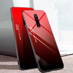 Xiaomi Mi 9T Pro用ハイブリットバンパーケース プラスチック 鏡面 虹 グラデーション 勾配色 カバー H01 Xiaomi レッド