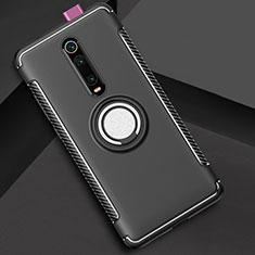 Xiaomi Mi 9T Pro用ハイブリットバンパーケース プラスチック アンド指輪 マグネット式 R04 Xiaomi ブラック
