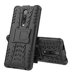 Xiaomi Mi 9T Pro用ハイブリットバンパーケース スタンド プラスチック 兼シリコーン カバー R01 Xiaomi ブラック
