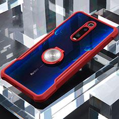 Xiaomi Mi 9T Pro用360度 フルカバーハイブリットバンパーケース クリア透明 プラスチック 鏡面 アンド指輪 マグネット式 Xiaomi レッド