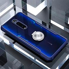 Xiaomi Mi 9T Pro用360度 フルカバーハイブリットバンパーケース クリア透明 プラスチック 鏡面 アンド指輪 マグネット式 Xiaomi ネイビー