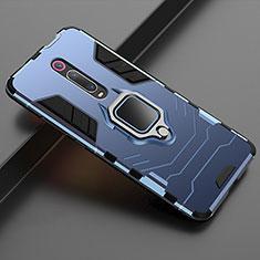 Xiaomi Mi 9T Pro用ハイブリットバンパーケース スタンド プラスチック 兼シリコーン カバー マグネット式 Xiaomi ネイビー