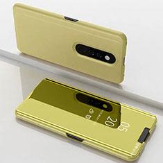 Xiaomi Mi 9T Pro用手帳型 レザーケース スタンド 鏡面 カバー Xiaomi ゴールド
