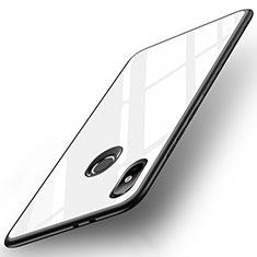 Xiaomi Mi A2用ハイブリットバンパーケース プラスチック 鏡面 カバー Xiaomi ホワイト
