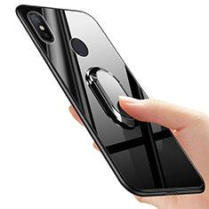 Xiaomi Mi A2用シリコンケース ソフトタッチラバー 鏡面 アンド指輪 Xiaomi ブラック