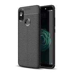 Xiaomi Mi A2用シリコンケース ソフトタッチラバー レザー柄 Xiaomi ブラック
