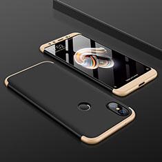 Xiaomi Mi A2用ハードケース プラスチック 質感もマット 前面と背面 360度 フルカバー Xiaomi ゴールド・ブラック