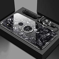 Xiaomi Mi A2用ハイブリットバンパーケース プラスチック 鏡面 カバー アンド指輪 マグネット式 A01 Xiaomi ブラック