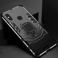 Xiaomi Mi A2用ハイブリットバンパーケース スタンド プラスチック 兼シリコーン カバー マグネット式 Xiaomi ブラック