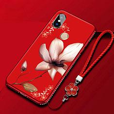 Xiaomi Mi A2 Lite用シリコンケース ソフトタッチラバー 花 カバー Xiaomi レッド