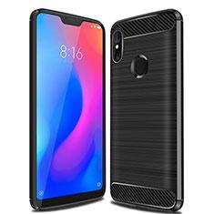 Xiaomi Mi A2 Lite用シリコンケース ソフトタッチラバー ライン カバー Xiaomi ブラック