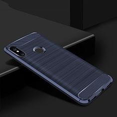 Xiaomi Mi A2 Lite用シリコンケース ソフトタッチラバー ライン カバー Xiaomi ネイビー