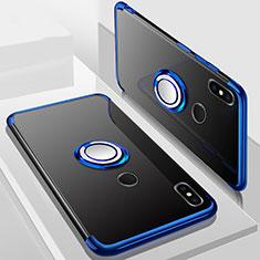 Xiaomi Mi A2 Lite用極薄ソフトケース シリコンケース 耐衝撃 全面保護 クリア透明 アンド指輪 マグネット式 S01 Xiaomi ネイビー