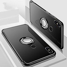 Xiaomi Mi A2 Lite用極薄ソフトケース シリコンケース 耐衝撃 全面保護 クリア透明 アンド指輪 マグネット式 S01 Xiaomi ブラック