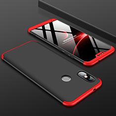 Xiaomi Mi A2 Lite用ハードケース プラスチック 質感もマット 前面と背面 360度 フルカバー Xiaomi レッド・ブラック
