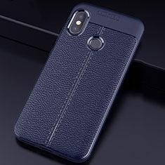 Xiaomi Mi A2 Lite用シリコンケース ソフトタッチラバー レザー柄 Xiaomi ネイビー