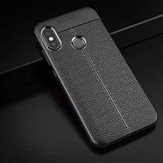 Xiaomi Mi A2 Lite用シリコンケース ソフトタッチラバー レザー柄 Xiaomi ブラック