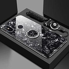 Xiaomi Mi A2 Lite用ハイブリットバンパーケース プラスチック 鏡面 カバー アンド指輪 マグネット式 Xiaomi ブラック