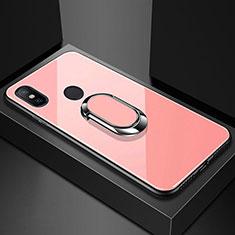 Xiaomi Mi A2 Lite用ハイブリットバンパーケース プラスチック 鏡面 カバー アンド指輪 マグネット式 A01 Xiaomi ローズゴールド
