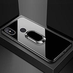 Xiaomi Mi A2 Lite用ハイブリットバンパーケース プラスチック 鏡面 カバー アンド指輪 マグネット式 A01 Xiaomi ブラック