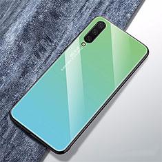 Xiaomi Mi A3用ハイブリットバンパーケース プラスチック 鏡面 虹 グラデーション 勾配色 カバー Xiaomi シアン