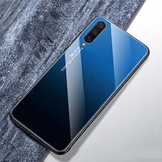 Xiaomi Mi A3用ハイブリットバンパーケース プラスチック 鏡面 虹 グラデーション 勾配色 カバー Xiaomi ネイビー