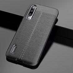 Xiaomi Mi A3用シリコンケース ソフトタッチラバー レザー柄 Xiaomi ブラック