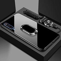 Xiaomi Mi A3用ハイブリットバンパーケース プラスチック 鏡面 カバー アンド指輪 マグネット式 Xiaomi ブラック