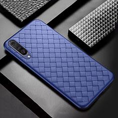 Xiaomi Mi A3用シリコンケース ソフトタッチラバー レザー柄 S01 Xiaomi ネイビー