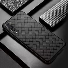 Xiaomi Mi A3用シリコンケース ソフトタッチラバー レザー柄 S01 Xiaomi ブラック