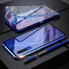 Xiaomi Mi A3用ケース 高級感 手触り良い アルミメタル 製の金属製 360度 フルカバーバンパー 鏡面 カバー M03 Xiaomi ネイビー