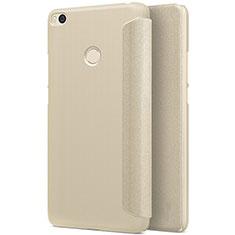 Xiaomi Mi Max 2用手帳型 レザーケース スタンド Xiaomi ゴールド