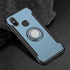 Xiaomi Mi Max 3用ハイブリットバンパーケース プラスチック アンド指輪 マグネット式 Xiaomi ネイビー