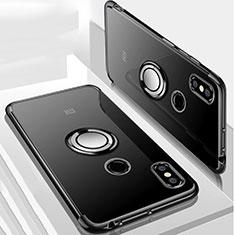 Xiaomi Mi Max 3用極薄ソフトケース シリコンケース 耐衝撃 全面保護 クリア透明 アンド指輪 マグネット式 S01 Xiaomi ブラック