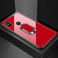Xiaomi Mi Max 3用ハイブリットバンパーケース プラスチック 鏡面 カバー アンド指輪 マグネット式 Xiaomi レッド