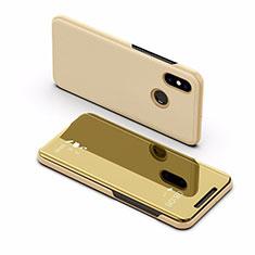 Xiaomi Mi Max 3用手帳型 レザーケース スタンド 鏡面 カバー L02 Xiaomi ゴールド