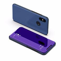 Xiaomi Mi Max 3用手帳型 レザーケース スタンド 鏡面 カバー L02 Xiaomi ネイビー